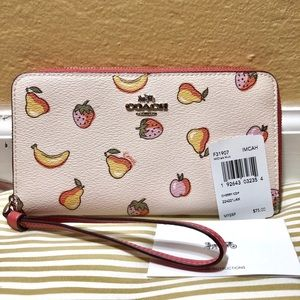 Coach summer fruits phone Wristlet wallet in pink